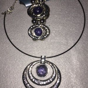 Women necklace and bracelet silver and blue